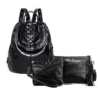حقيبة الظهر، حقيبة تحمل على الكتف، وحقيبة مستحضرات التجميل، جلد الخراف حقيقية 976