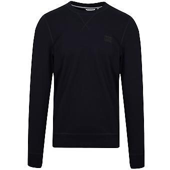 Antony Morato Antony Morato Navy Blue Plaque Logo Crew Neck Sweatshirt