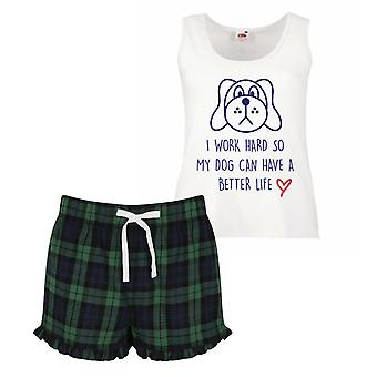 I Work Hard So My Dog Can Have A Better Life Pyjamas Ladies Tartan Frill Short Pyjama Set Red Blue or Green Blue