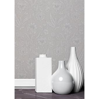 Elegante Milano 5 flor plata papel pintado pared decoración 10,05 x 0,53 m