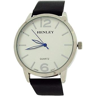 Henley Mens Large Silvertone Analogue Dial Black PU Strap Watch H02111.1