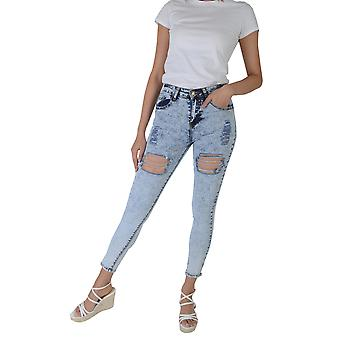 Lovemystyle Acid Natural Waist Skinny Jeans With Rips