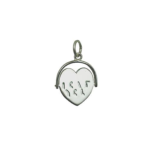 Silver 16x16mm I Love You heart spinning disc Pendant or Charm