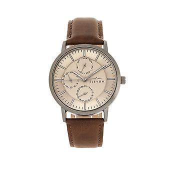 Elevon Lear Leather-Band Watch w/Day/Date - Brown/Gunmetal