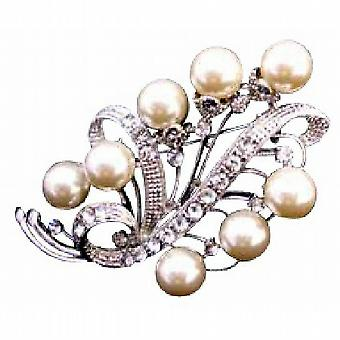 Ivory Pearls Bridal Bridesmaid Silver Casting Brooch Jewelry