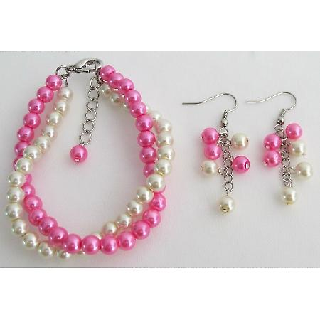 Fuchsia Pearl Cream Pearl Twisted Bracelet Wedding Gift