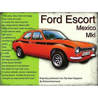 Ford Escort Mexico metall skylt (og 2015)