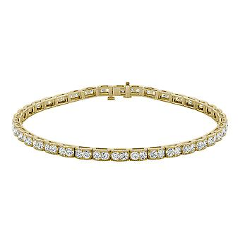 14k Yellow Gold Moissanite da Charles & Colvard 1,8 millimetri rotonda Bracciale Tennis, 1.71cttw rugiada
