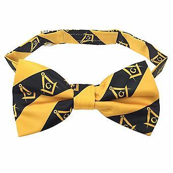High Quality 100% Silk Masonic Bow Tie Yellow and Black