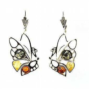 The Olivia Collection Sterling Silver Multi Color Butterfly Amber Earrings