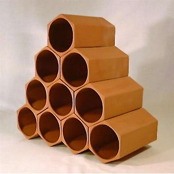 10 Bottle Hexagonal Sections Terracotta Wine Rack