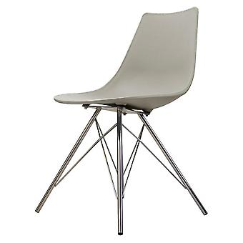 Fusion Living Iconic Light Grey Plastic Dining Chair With Chrome Metal Legs Fusion Living Iconic Light Grey Plastic Dining Chair With Chrome Metal Legs Fusion Living