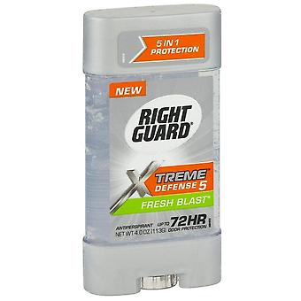 Right guard xtreme defense-5 antiperspirant gel, fresh blast, 4 oz