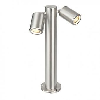 2 Light Outdoor Post Marine Grade Brushed Stainless Steel, Glass Ip65