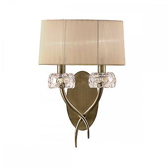 Mantra M4634AB/S Loewe Wall Lamp Switched 2 Light E14, Antique Brass With Soft Bronze Shade