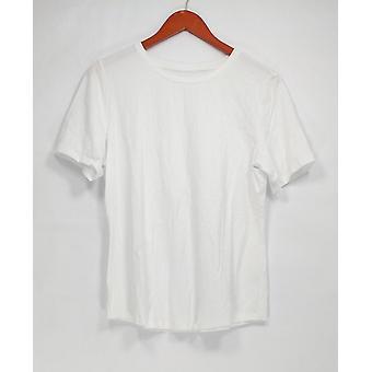 Denim & Co. Women's Top Essentials Crew Neck Short Sleeve White A307447