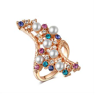14K Gold Plated Multicolor Austrian Crystals Ring