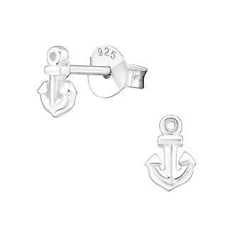 Anchor - 925 Sterling Silver Plain Ear Studs - W20569X