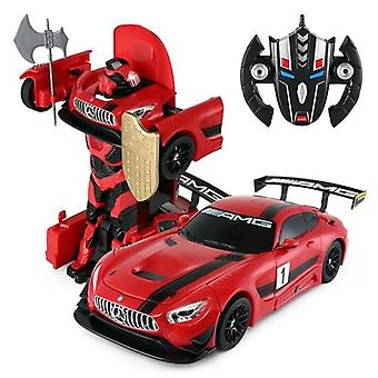 Licensed 1:14 Mercedes AMG GT3 Transformable Remote Control Car Red Car to