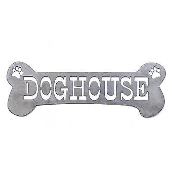 Doghouse - metal cut sign 24x8in