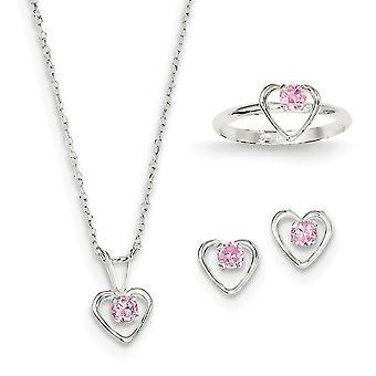 925 Sterling Silver Polished Spring Ring pour les garçons ou les filles 15 boucles d'oreilles Collier pouces et taille 3 Anneau Ensemble