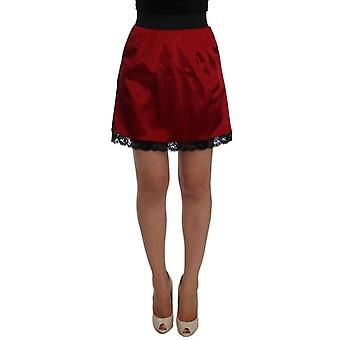 Red Black Lace A-Line Above Knee Skirt -- SIG2808645