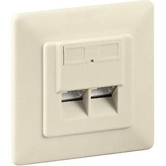 Network outlet Flush mount Insert with main panel and frame CAT 6 Goobay 68245 Beige