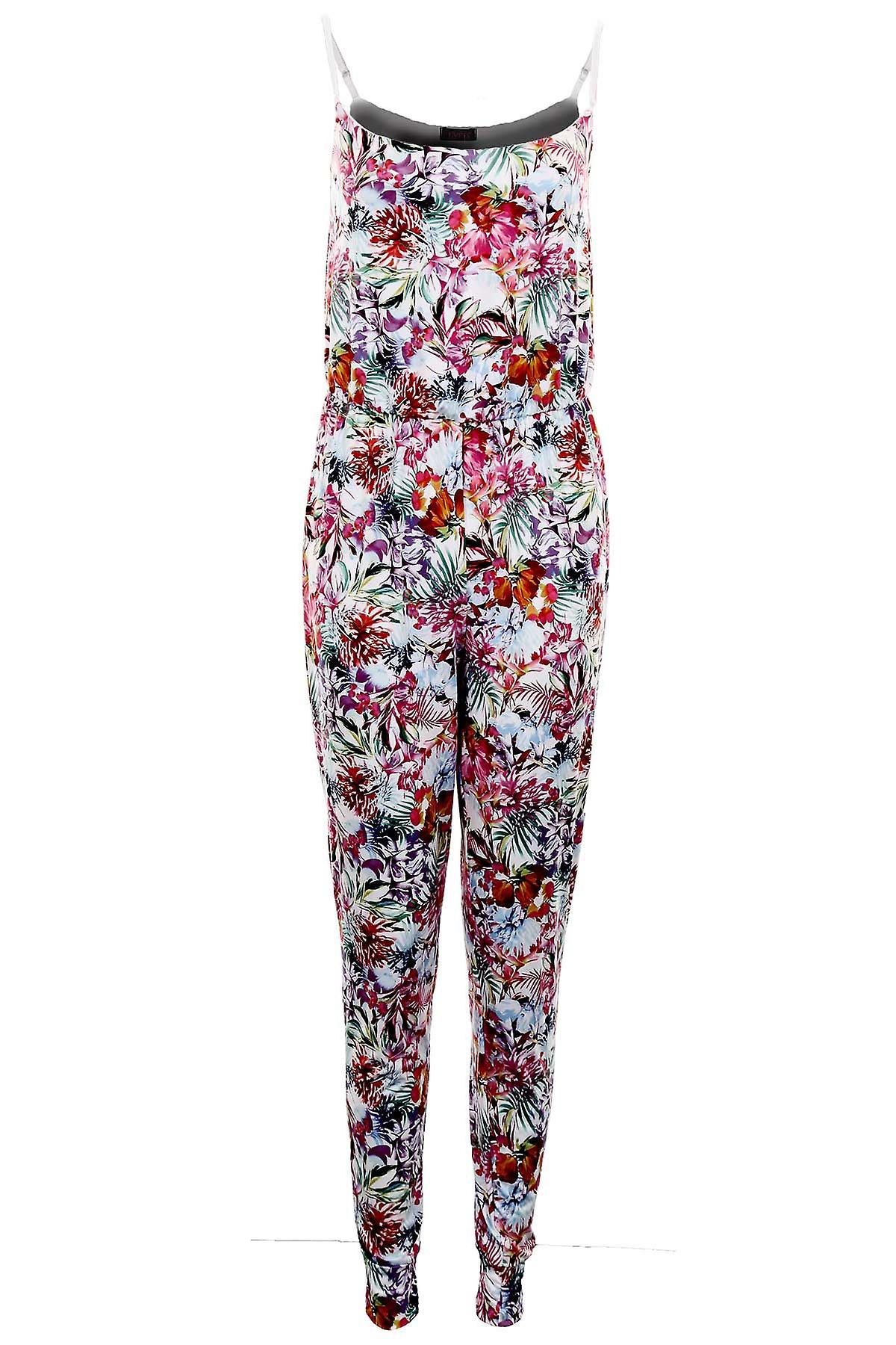 Ladies Adjustable Strap Multi Colour Floral Stretch All in one Women's Jumpsuit