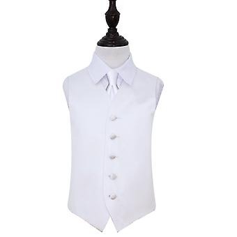 Boy's White Plain  Satin Wedding Waistcoat & Tie Set