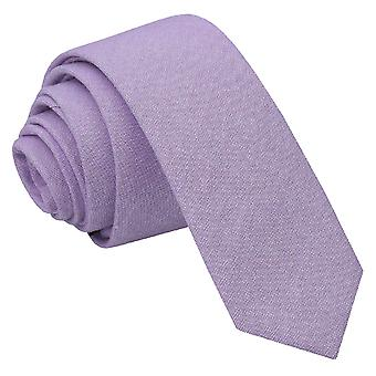 JA Chambray Cotton Lilac Skinny Tie