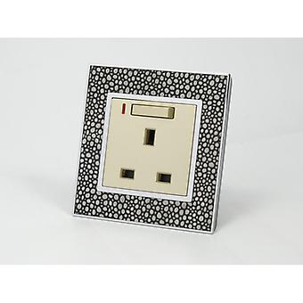 I LumoS AS Luxury Pearl Leather Single Switched with Neon Wall Plug 13A UK Sockets