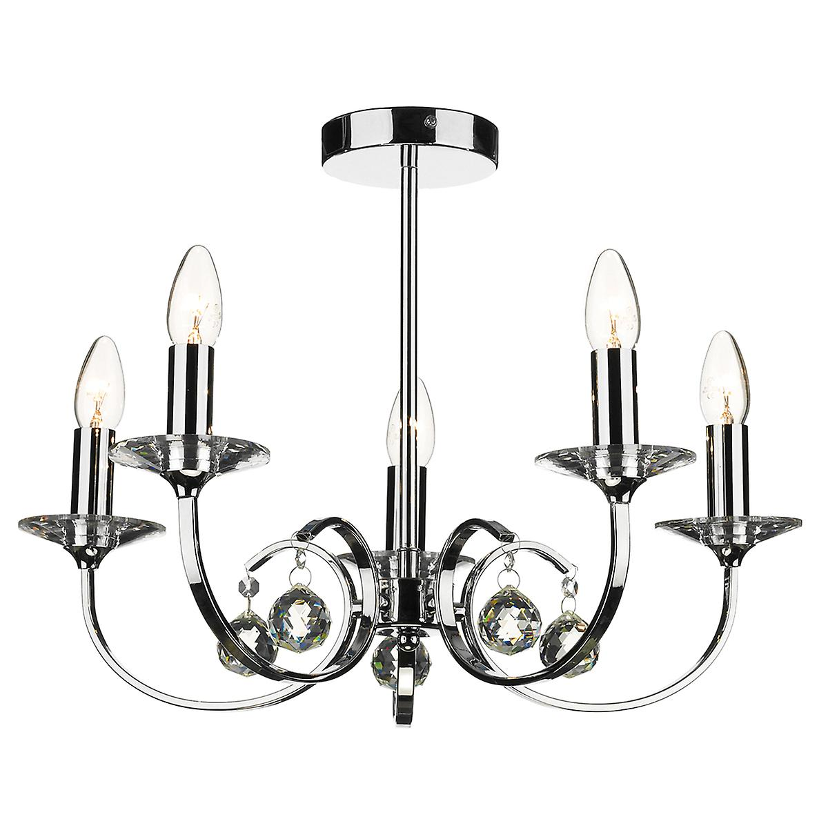 Dar ALL0550 Allegra 5 Arm Modern Chrome Ceiling Pendant With Crystal Sconces