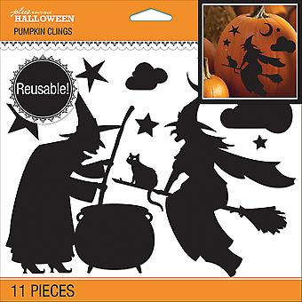 Jolee's Reusable Pumpkin Cling 11/Pkg-Witch Silhouette E40560