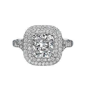 2.7 CTW 7,50 MM for evigt et Moissanite Engagement Ring med diamanter 14K Halo Micro bane Cushion Cut