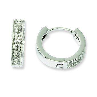 Sterling Silver and CZ Fancy Hinged Hoop Earrings