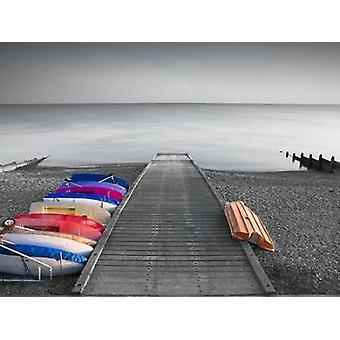 Kayaks on the side of pier Poster Print by  Assaf Frank