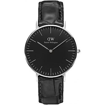 Montre Daniel Wellington Reading DW00100147 - Montre Noire Cuir Croco Mixte
