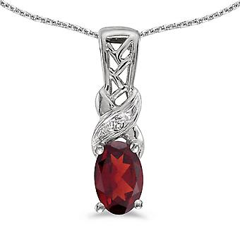 10k White Gold Oval Garnet And Diamond Pendant with 16