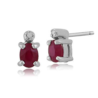 9ct White Gold 0.44ct Ruby & Diamond Square Stud Earrings
