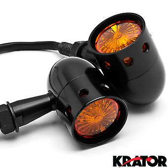 2pcs Black Motorcycle Turn Signals Blinkers Lights For Victory Cross Country