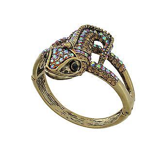 Goldtone Color Changing Rhinestone Lizard Bangle Bracelet