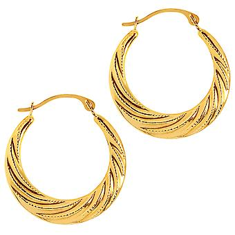 14K Yellow Gold Half Moon Swirl Hoop Earrings, Diameter 20mm
