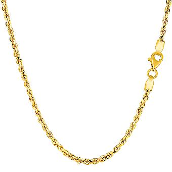14k Yellow Gold Solid Diamond Cut Royal Rope Chain Necklace, 2.25mm