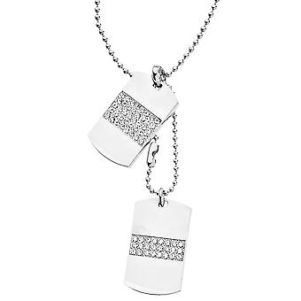 Iced out bling ball chain dog tag pendant - silver
