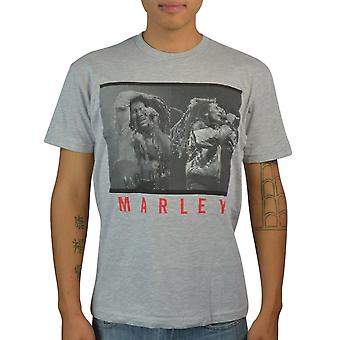 Bob Marley Concert Rare Photography Graphic Printed Men's Casual Grey T-shirt
