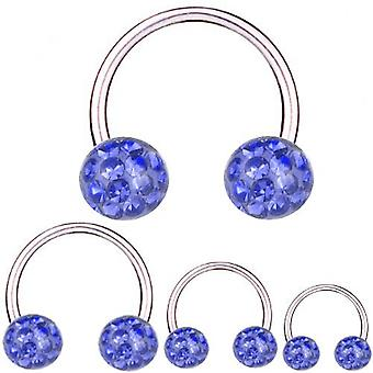 Circular Barbell Titanium 1,6 mm, Multi Crystal Ball Sapphire Blue | 8 - 16 mm