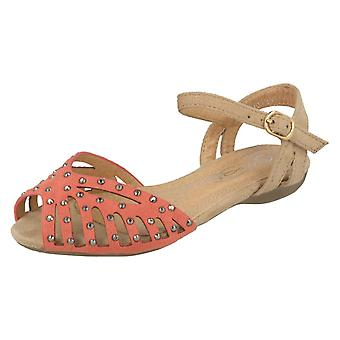 Girls Spot On Peep Toe Sandals H0123