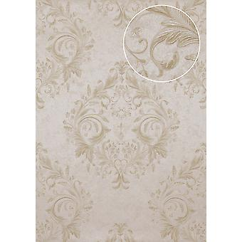 Baroque wallpaper Atlas marked ATT-3805-2 luxury liner wallpaper with floral ornaments shiny bright ivory cream gold 7,035 m2