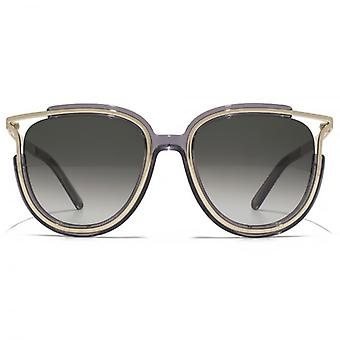 Chloe Jayme Feminine Round Sunglasses In Dark Grey