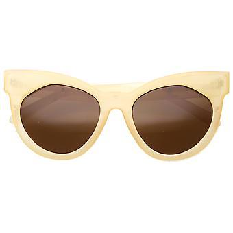 Womens Mod Fashion Oversized Flat Lens Bold Chunky Cat Eye Sunglasses 64mm